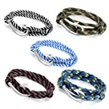 Oidea 5pcs Mens Womens Teens Fish Hook Adjustable Multistrand Military Camouflage Rope Wrist Bracelet for Unisex,31 Inch-Wear as Anklet, Fishhook Pendant Necklace