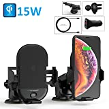 Techsmarter 15W Wireless Car Charger Phone Holder & Mount, Auto Clamping Windshield Dashboard Air Vent Phone Holder Mount. Compatible with iPhone 11, X, XS, XR, 8, Samsung S10, S9, S8, Note and More