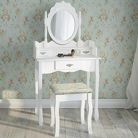 Miadomodo - Tocador de maquillaje romántico con 1 cajón grande, 2 cajones pequeños, espejo y taburete - disponible en color blanco o negro