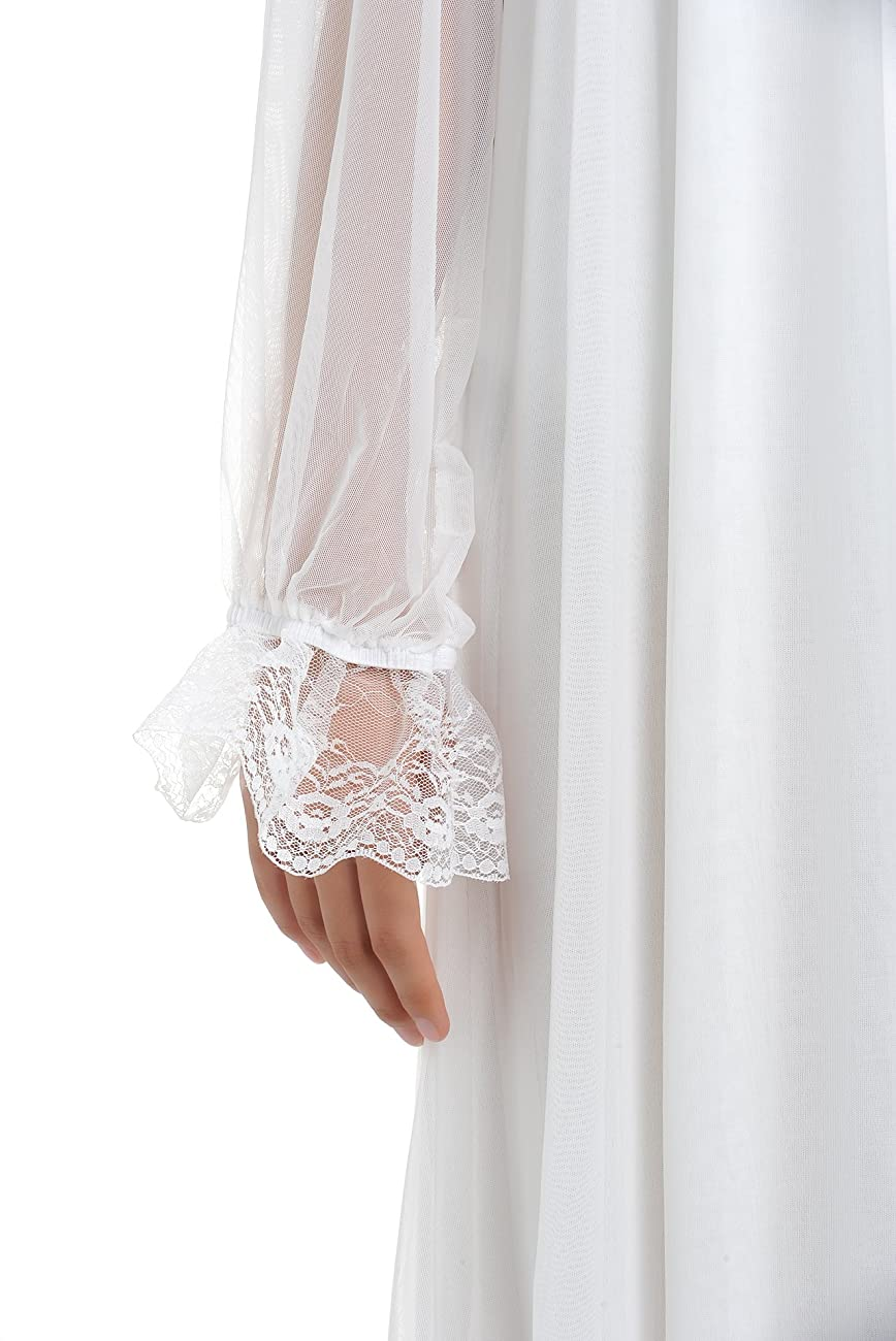 Latuza Women's Long Sheer Vintage Victorian Nightgown with Sleeves 5