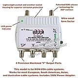 4 Port Cable TV/HDTV/Digital INTERNATIONAL (240v Power Supply) Amplifier Internet Modem Signal Booster Internet AMP