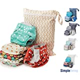 Simple Being Reusable Cloth Diapers, Double Gusset, One Size Adjustable, Washable Soft Absorbent, Waterproof Cover, Eco-Friendly Unisex Baby Girl Boy, with six 4-Layers Microfiber Inserts (Forest) (Color: Forest)
