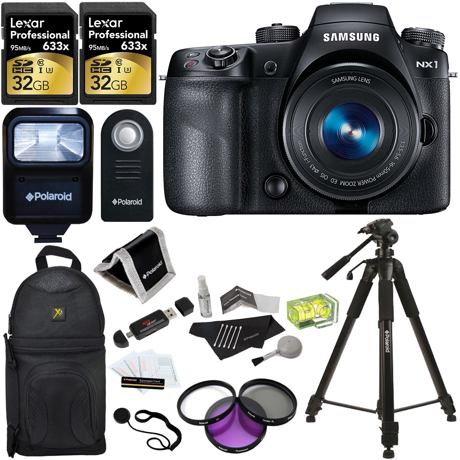 "Samsung NX1 28 MP 4K Wireless Smart Camera with 16-50mm Power Zoom Lens + Lexar 633x 32GB SDHC 2 Pack + Polaroid 72"" Tripod + Polaroid Slave Flash + Polaroid 43mm Filter Set + Polaroid Accessory Kit"