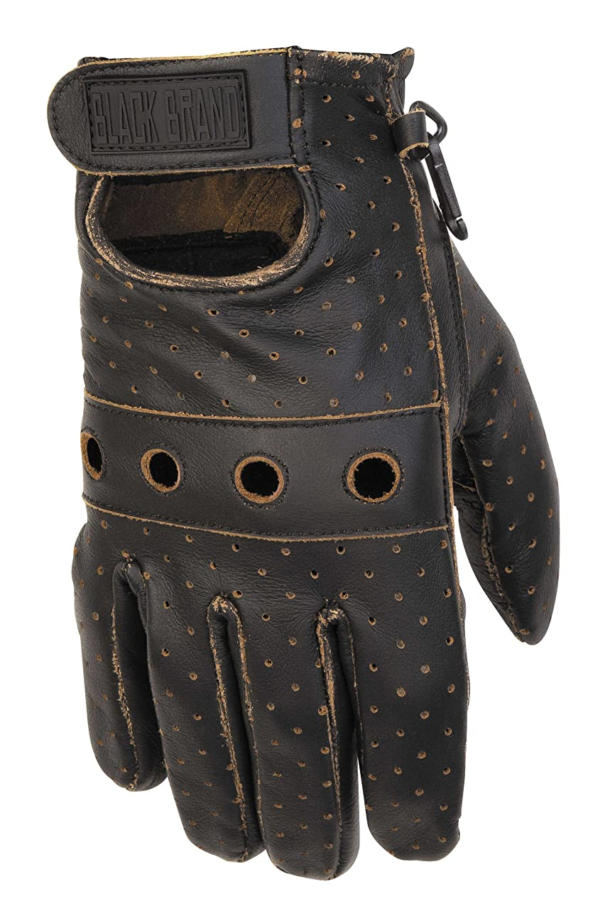 Black Brand Men's Leather Vintage Knuckle Motorcycle Gloves (Black, Large) 0
