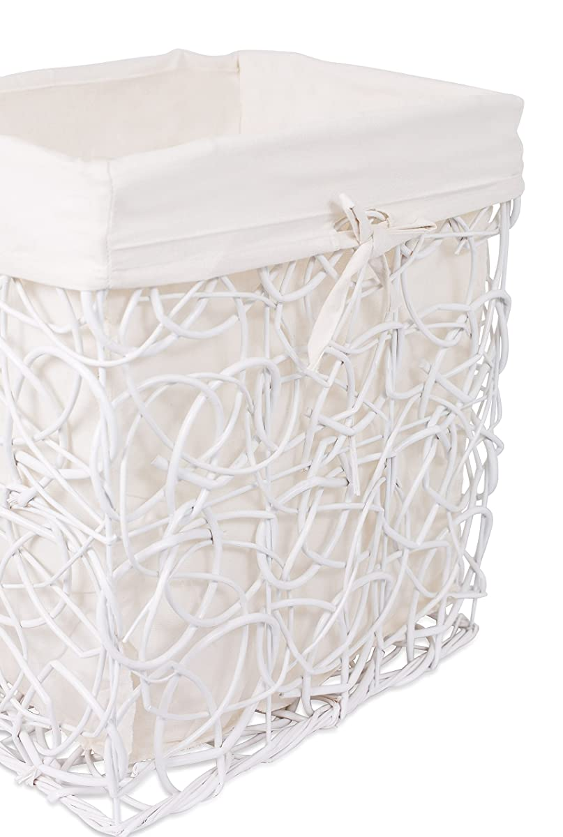 BirdRock Home Decorative Willow Laundry Hamper with Liner | Woven Wooden Laundry Basket | Wicker Reed Frame and Lid | Removable Liner | Dirty Clothes Storage | White
