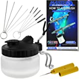 Master Airbrush 13 Piece Airbrush Cleaning Kit - Glass Cleaning Pot Jar with Holder, 5 pc Cleaning Needles, 5 pc Cleaning Brushes, 1 Wash Needle, How to Book (Tamaño: 13 Piece Brush & Jar Set)