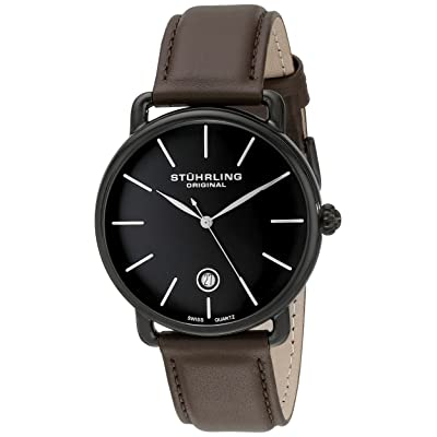 Stuhrling Original Men's 768.03 Ascot Black Stainless Steel Watch with Brown Leather Band