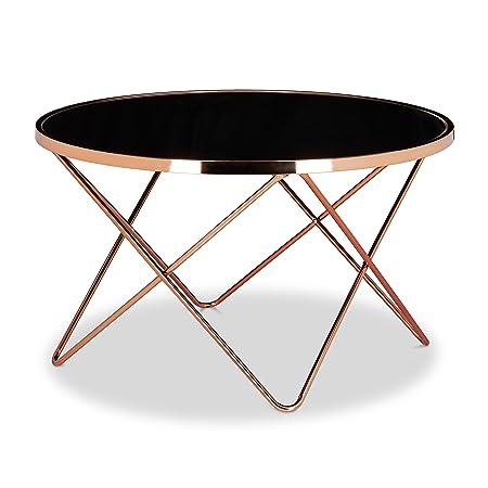 Relaxdays Copper Tavolino Per/Da Soggiorno Set Nr. 2 Tavolino per Divano/Soggiorno, Metallo, Nero, 85x85x49 cm