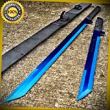 27'' & 18'' BLUE 2 Pc Set Dual Destroyer Twin Ninja Machete Sword Knife for Hunting Camping Cosplay
