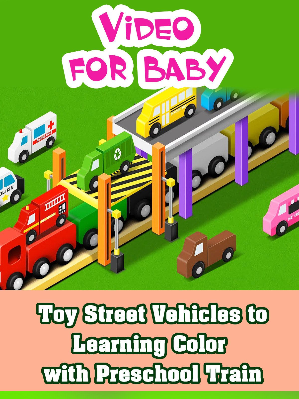 Toy Street Vehicles to Learning Color with Preschool Train