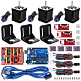 Kuman Professional 3D printer CNC Kit for arduino, GRBL CNC Shield +UNO R3 Board + RAMPS 1.4 Mechanical Switch Endstop + DRV8825 A4988 GRBL Stepper Motor Driver with heat sink + Nema 17 Stepper Motor (Color: arduino 3D printer CNC Kit)