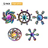 SCIONE Fidget Spinner Metal 5 Pack Stainless Steel Bearing 3-5 Min High Speed Stress Relief Spin ADHD Anxiety Toys for Adult Kid Autism Fidgets Best EDC Hand Spinners Finger Toy Focus Fidgeting (Color: Metal 5 Pack 5 Style, Tamaño: one size)