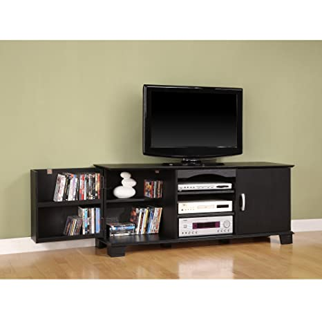 "57"" TV Stand/Console, Black Wood Finish and Swinging Doors, Extra Storage"
