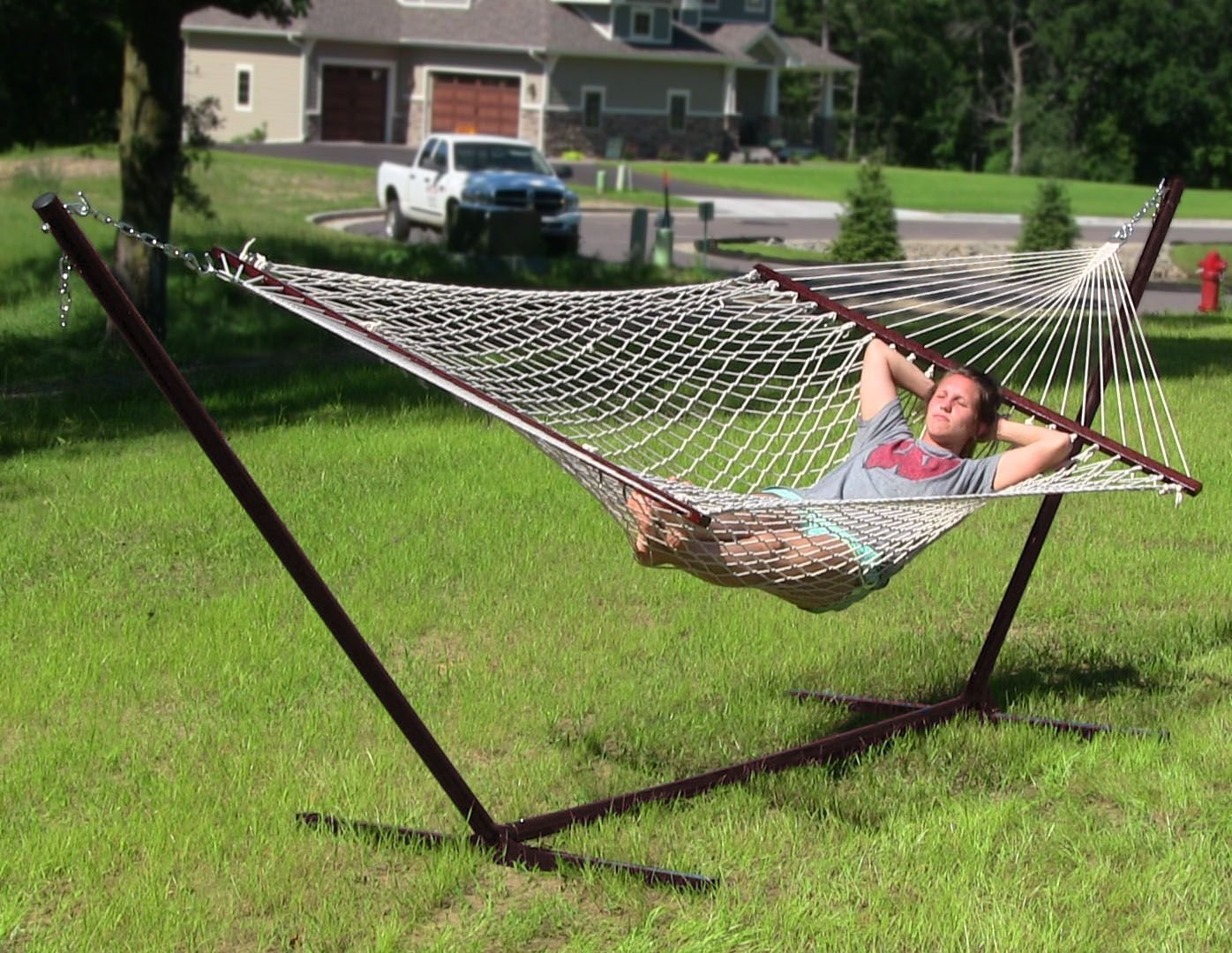 Sunnydaze Cotton Double Wide Rope Hammock