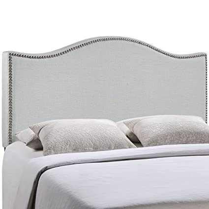 LexMod Curl Nailhead Upholstered Headboard, Full, Gray