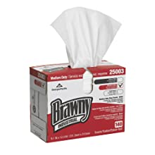 "Brawny Industrial 250-03 12.4"" Length x 9.1"" Width, White Medium Duty HEF Disposable Shop Towel (10 Packs of 140)"