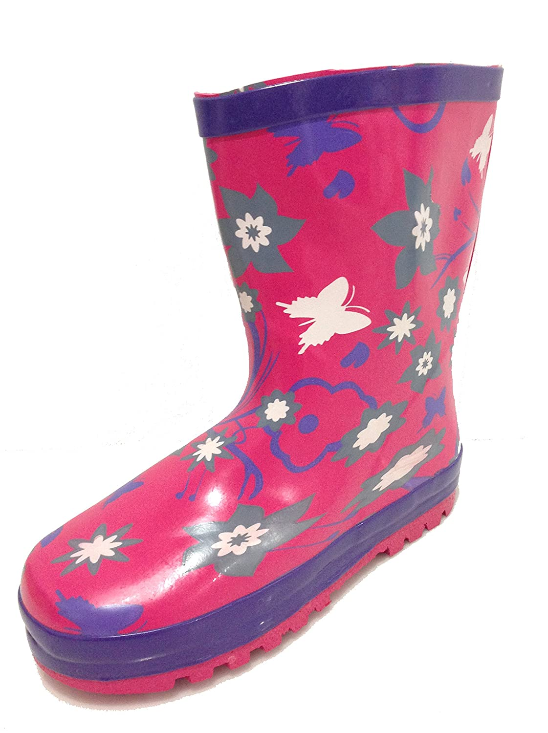 OAR Toddler & Little Girls Pink Hippie Flower Rain Boots w/ Lining oar toddler