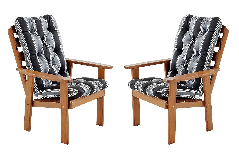 Ambientehome 90325 Gartensessel Gartenstuhl Loungesessel 2-er Set Massivholz Hanko Maxi, braun mit Kissen, schwarz / grau jetzt kaufen