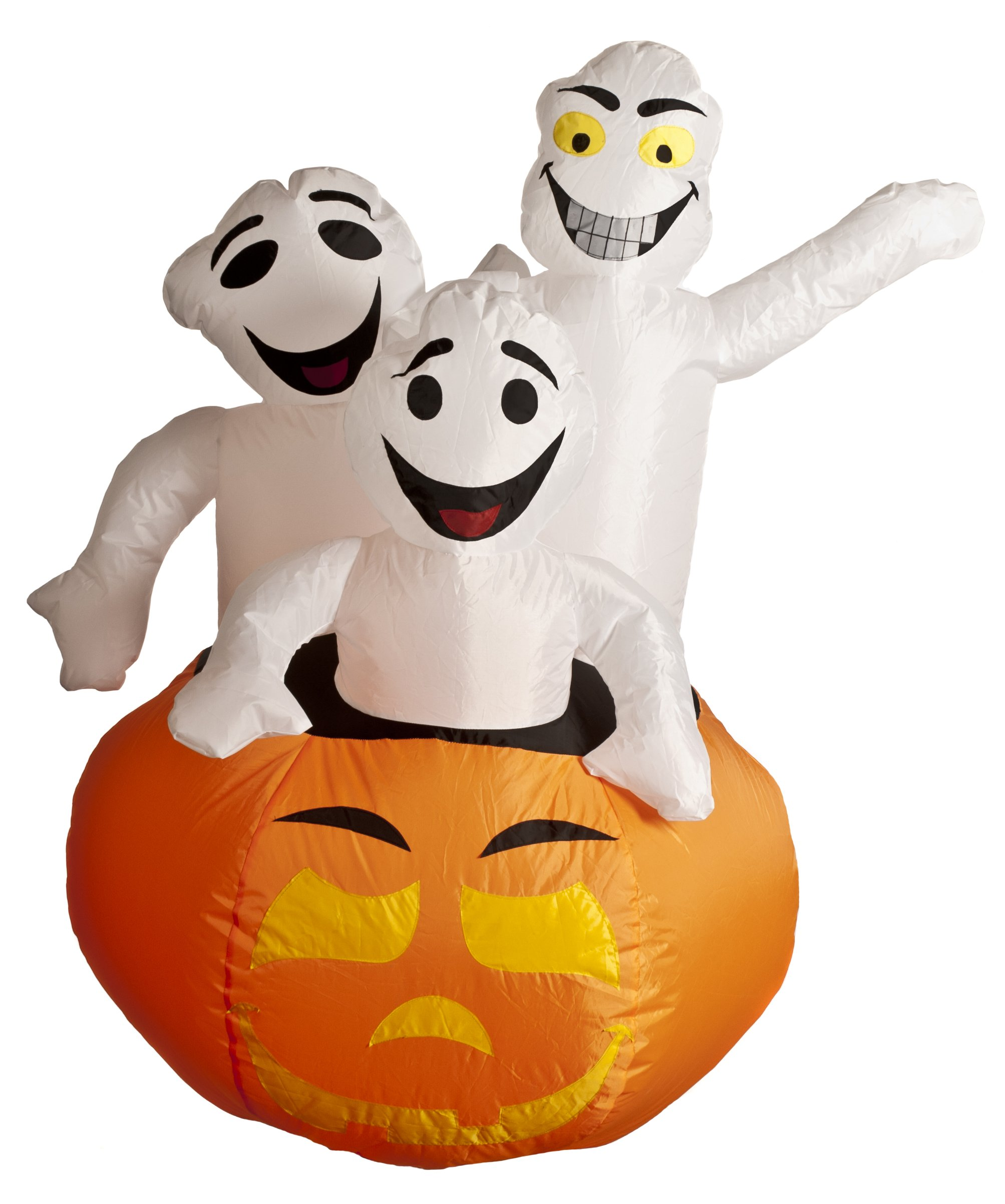 3-Pieces Brite Ideas 803033 122cm Festive Inflatable Pumpkin with 3-Ghosts Jumping Out