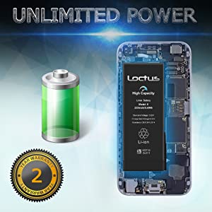 2200mAh High Capacity Battery for iPhone 6 with Complete Replacement Tool Kit, Adhesive Tape and Instructions Included by Loctus 24 Months Warranty (Color: For iPhone 6)