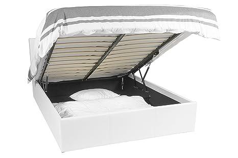 Luna Ottoman | Cama con almacenaje | 180x200 | Blanco | 900 liter espacio de almacenamiento | Desmontable cabecera