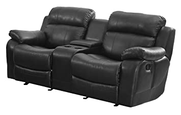 Homelegance Marille Reclining Loveseat with Center Console Cup Holder, Black
