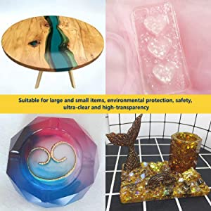 Epoxy Resin Coating Kit - 16 Ounce Kit Crystal Clear Resin for Art, Jewelry, Art Work,Wood finishes, See Through Encapsulations - Bonus 4 pcs Graduated Cups, 4pcs Sticks, 2 Pair Rubber Gloves