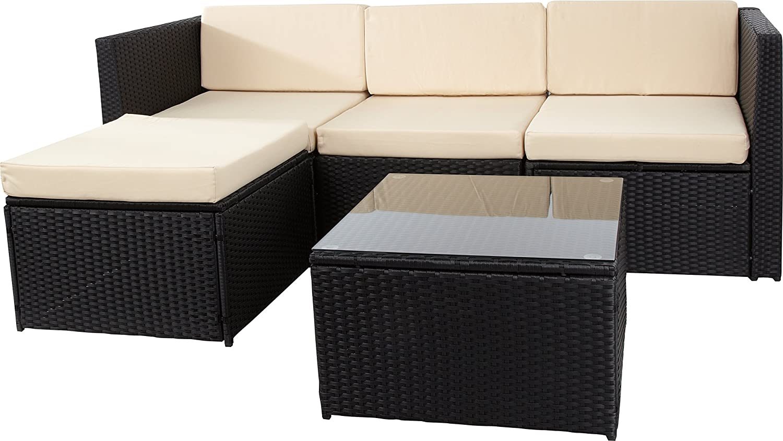 13-teilige Loungegruppe Polyrattan, Aluminiumgestell, schwarz im eleganten 4-Faser Design, wetterfest