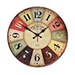Wood Wall Clock, NALAKUVARA Vintage Colorful France Paris French Country Tuscan Retro Style Arabic Numerals Design Non -Ticking Silent Quiet Wooden Clock Gift Home Decorative for Room, 12-Inches