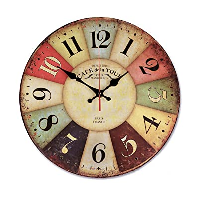 NALAKUVARA Vintage Retro Wood Wall Clock