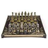 Marinakis Handmade Alexander Metal Chess Set in Wooden Box (Color: Silver, Bronze, Wood, Black and White, Blue and Yellow.)
