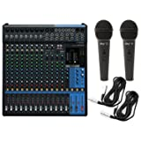 Yamaha MG16XU 16 Input Analog Mixer with Microphone Preamps , Dedicated Stereo Line Channels, Aux Sends , EQ , Digital Effects Audio Mixer USB Interface with 2 Microphones and 2 Microphone Cables, Black (Color: Black)