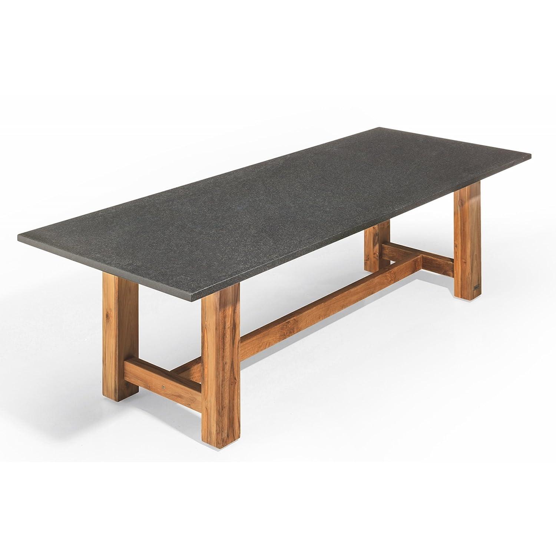 Studio 20 Voss Gartentisch 300 x 100 x 75 cm Outdoortisch Granittisch Teakholz Tischplatte Pearl black satiniert