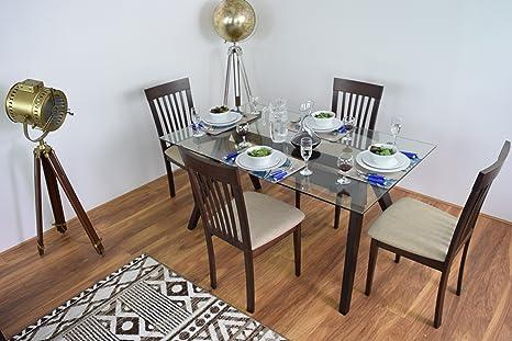 NUEVO rectángulo moderno de cristal mesa de comedor y 4sillas (Madera Maciza De Madera Muebles de Cocina Cena mesa rectangular Diner conjuntos de habitaciones