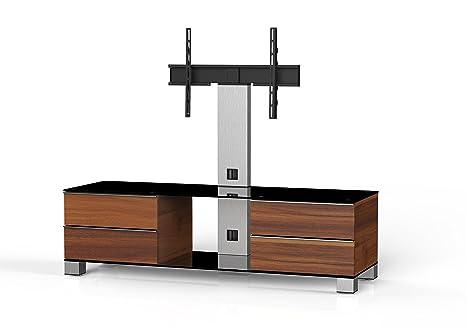 Sonorous MD 8540-B-INX-APL Fernseher-Möbel mit Schwarzglas (Aluminium Inox, Korpus Holzdekor) apfel