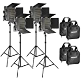 Neewer 4 Pieces Bi-Color 660 LED Video Light and Stand Kit Includes: 3200-5600K CRI 96+ Dimmable Light with U Bracket and Barndoor and 75 inches Light Stand for Studio Photography, Video Shooting (Color: black, Tamaño: 29 x 17.8 x 11.4 inches)