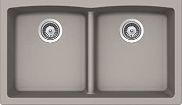 SCHOCK EDON200YU042 EDO Series CRISTALITE 50/50 Undermount Double Bowl Kitchen Sink, Concrete