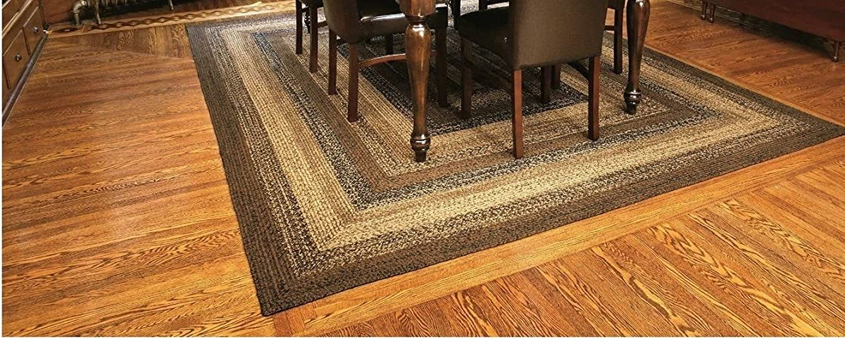 IHF Home Decor Cappuccino Rectangle Jute Braided Area Rug Floor Carpet 8 x 10 Feet