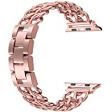 Wearlizer Pink Rose Gold Compatible Apple Watch Band 38mm Womens iWatch Cowboy Chain Wrist-Bands Stainless Steel Replacement Strap Metal Bracelet Removal Link,Series 3 2 1 Sport Edition (Color: 38mm Pink Rose Gold)