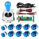 Avisiri 1 Player Arcade Buttons Joystick DIY Kit Parts Include 1x Ellipse Balltop Handle Stick 10x LED Arcade Button 1x USB Encoder Controller for PC MAME Raspberry Pi Windows (Blue) (Color: Blue)