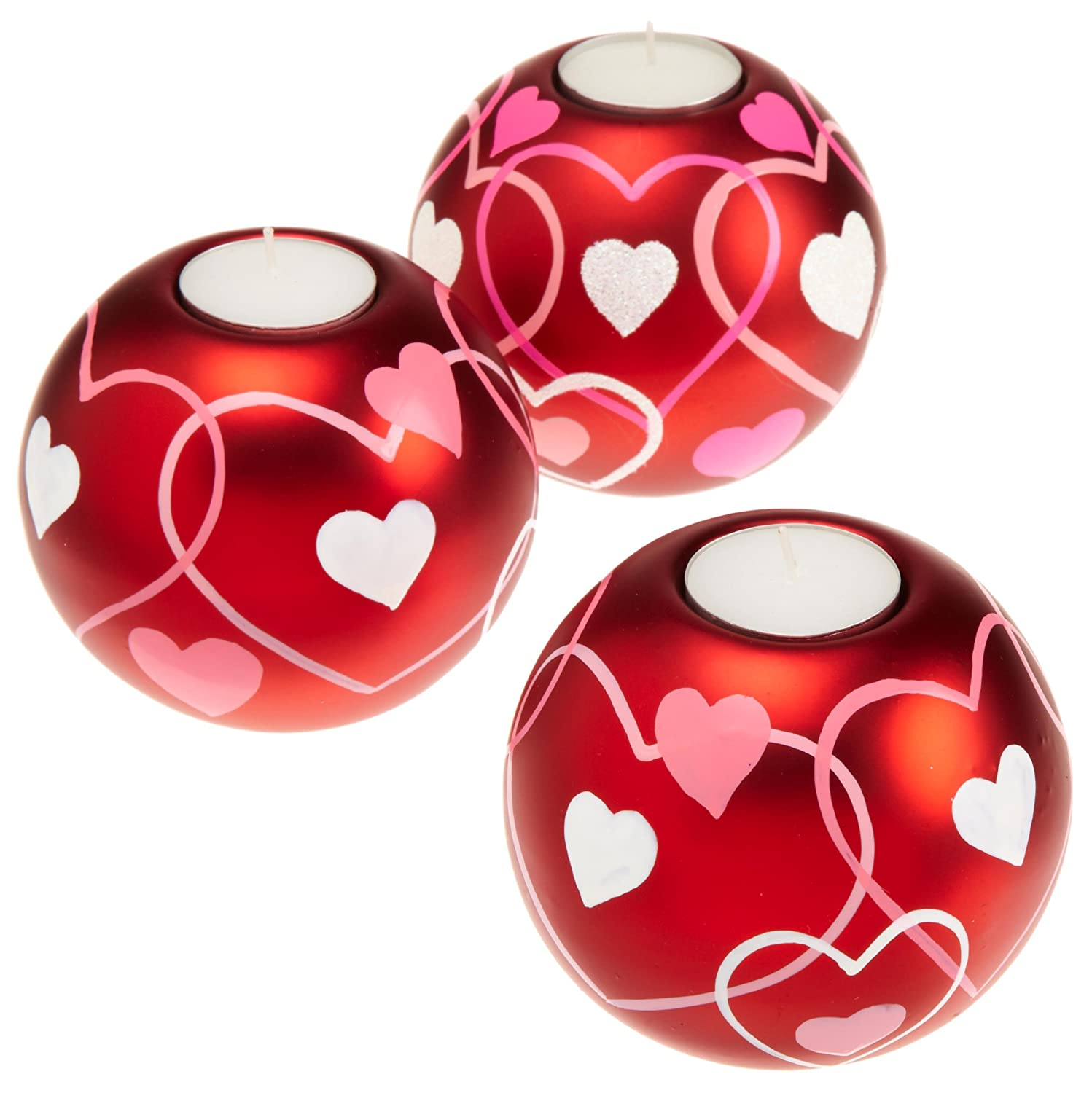 DII Red Hearts Ball Tealight Holder, Ceramic, Large, Set of 3