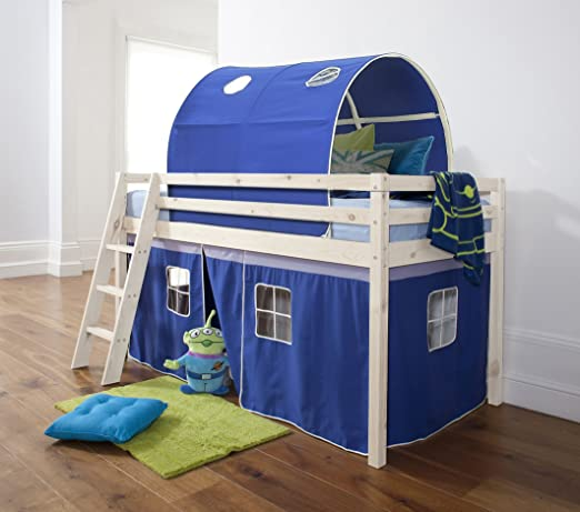 Midsleeper Cabin Bed in Whitewashed Pine with Tent and Tunnel in Blue & Mattress