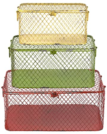 Faux Distressed Metal Rectangle Red, Green abd Cream Boxes Set by Traders and Company