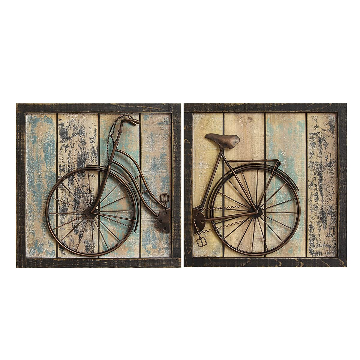 Stratton Home Decor S01209 Bicycle Wall Decor, Set of 2, Rustic