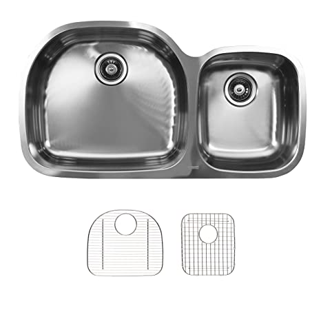 Ukinox D537.60.40.10L.G Modern Undermount Double Bowl Stainless Steel Kitchen Sink with Bottom Grids