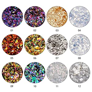 QIMYAR 12 Colors Chameleon Nail Sequins Glitter Dust Shinning Nail Mirror Glitter Paillette Powder DIY Decoration Chrome Pigment . (Color: 12 Colors Chameleon Powder)