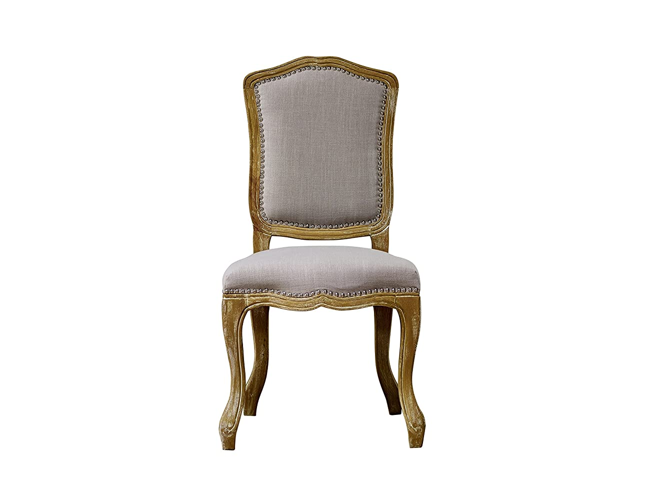 Baxton Studio Chateauneuf French Vintage Cottage Weathered Oak Linen Upholstered Dining Side Chair, Medium, Beige 1