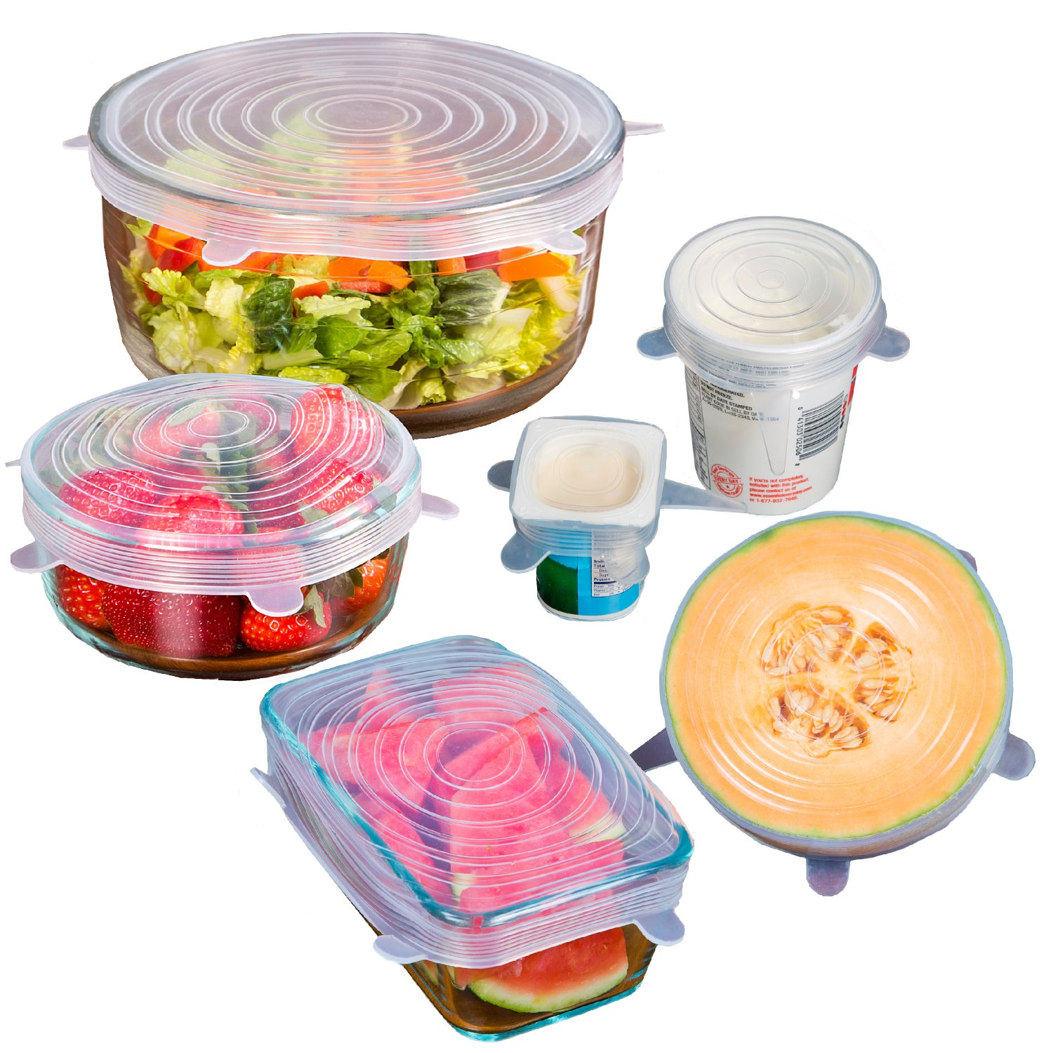 12 Premium Silicone Stretch Lids - BPA FREE - SAVE MONEY - Reusable, Durable, Heat Resistant, Dishwasher, Microwave and Oven Safe Covers.