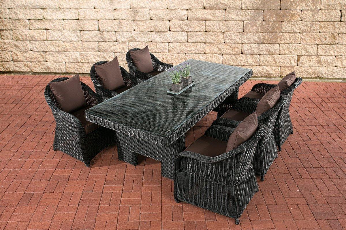 CLP Polyrattan Sitzgruppe CANDELA schwarz, 6 Sessel inkl. Polster + Tisch 220 x 100 cm, 5mm Rundrattan schwarz, Bezugfarbe terrabraun