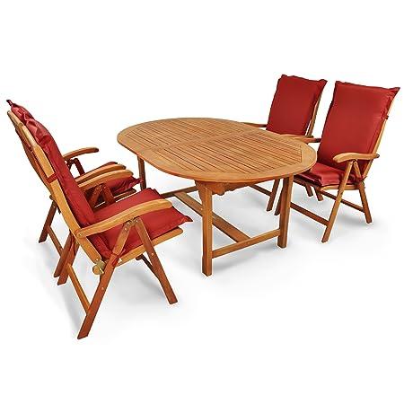Indoba IND-70000-SFSE5 plus IND-70432-AUHL Serie Sun Flair Gartenmöbel Set, 9-teilig aus Holz, Eukalyptus/ Rot, 220x110x74 cm